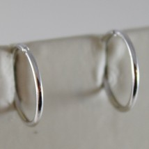 18K WHITE GOLD EARRINGS MINI CIRCLE HOOP 13 MM 0.51 IN DIAMETER MADE IN ITALY image 1