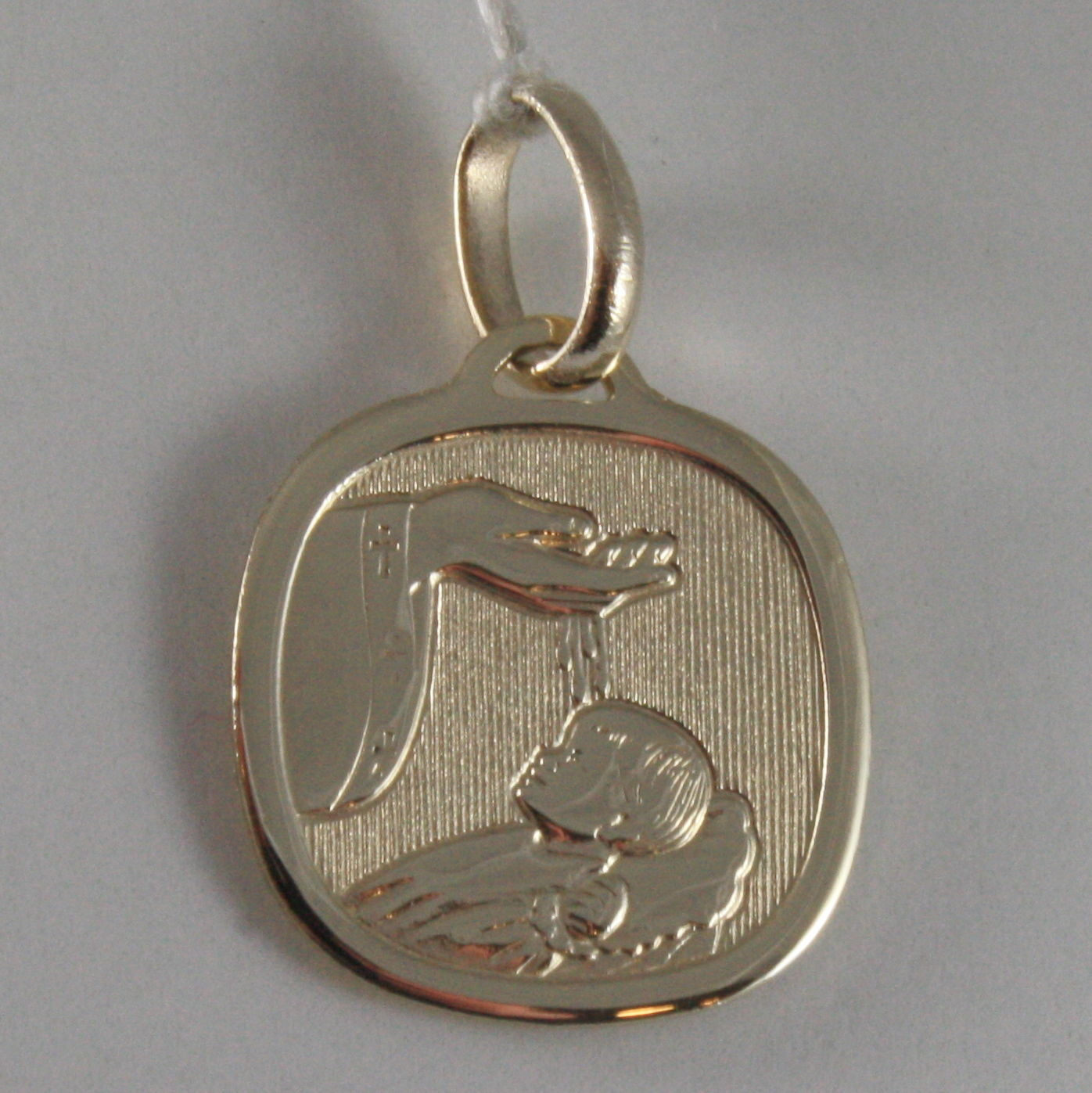 SOLID 9K YELLOW GOLD REMEMBRANCE OF BAPTISM MEDAL, MADE IN ITALY, 9KT ENGRAVABLE