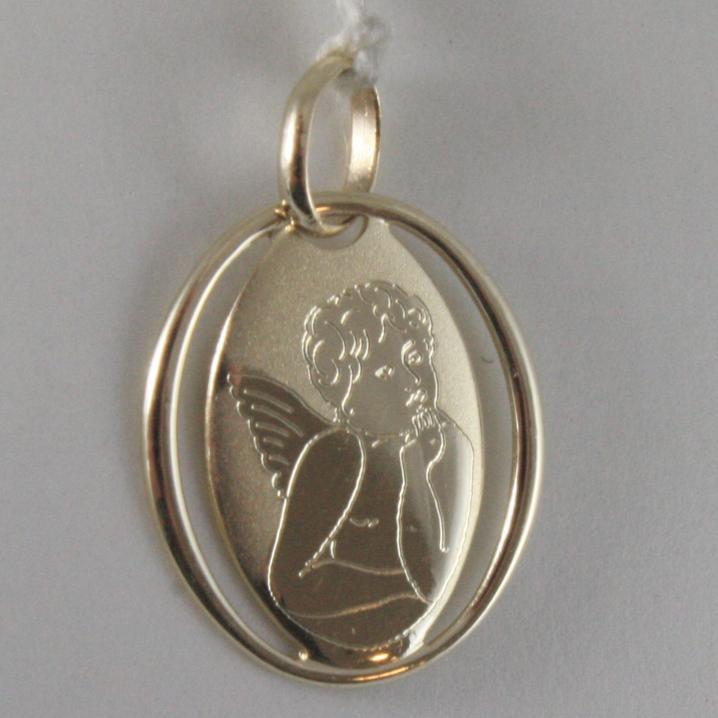SOLID 9K YELLOW GOLD ANGEL PENDANT, OVAL ANGEL MEDAL, MADE IN ITALY, 9KT