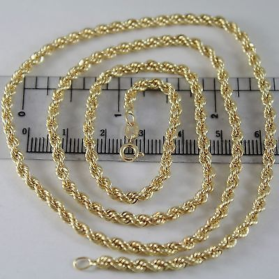 18K YELLOW GOLD CHAIN NECKLACE 3.5 MM BRAID BIG ROPE MESH 17.70 MADE IN ITALY