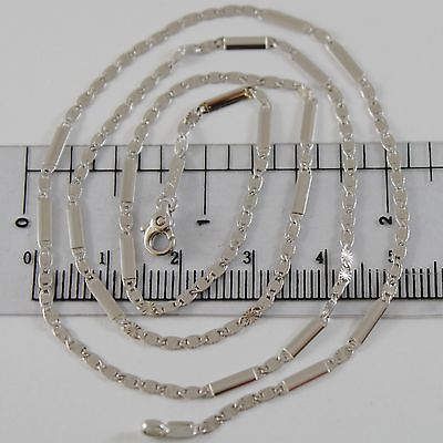 18K WHITE GOLD CHAIN 2 MM FLAT OVAL STAR PLATE MESH 19.70 INCHES MADE IN ITALY