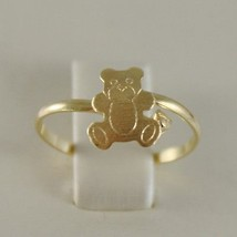 Solid 18K Yellow Gold Ring With Satin Bear For Girl, Made In Italy - $104.88