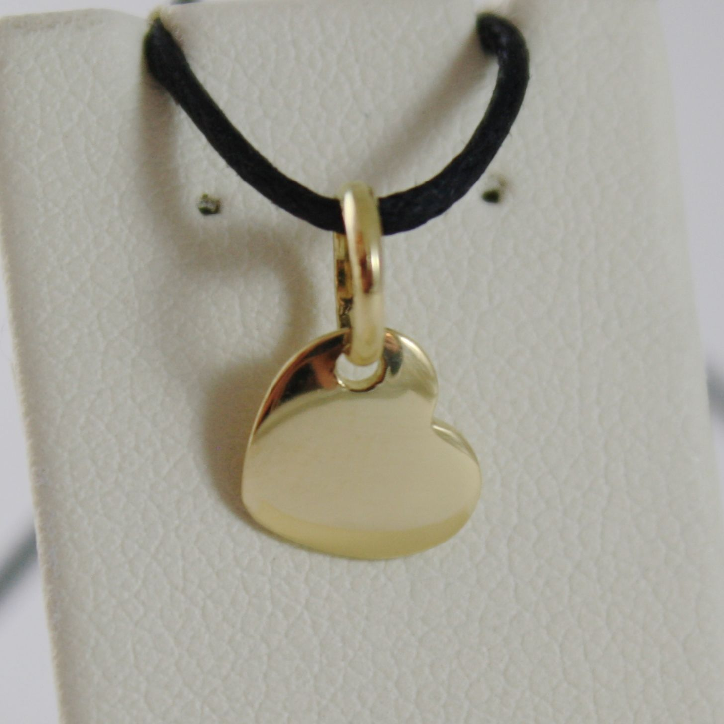 18K YELLOW GOLD MINI HEART CHARM PENDANT, 9 MM, FLAT SMOOTH SHINY MADE IN ITALY