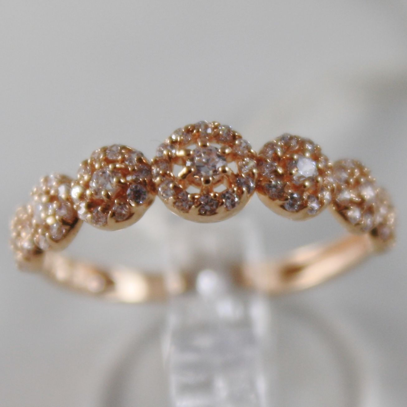 SOLID 18K PINK GOLD BAND ETERNITY RING 7 ROSE FLOWER LUMINOUS MADE IN ITALY