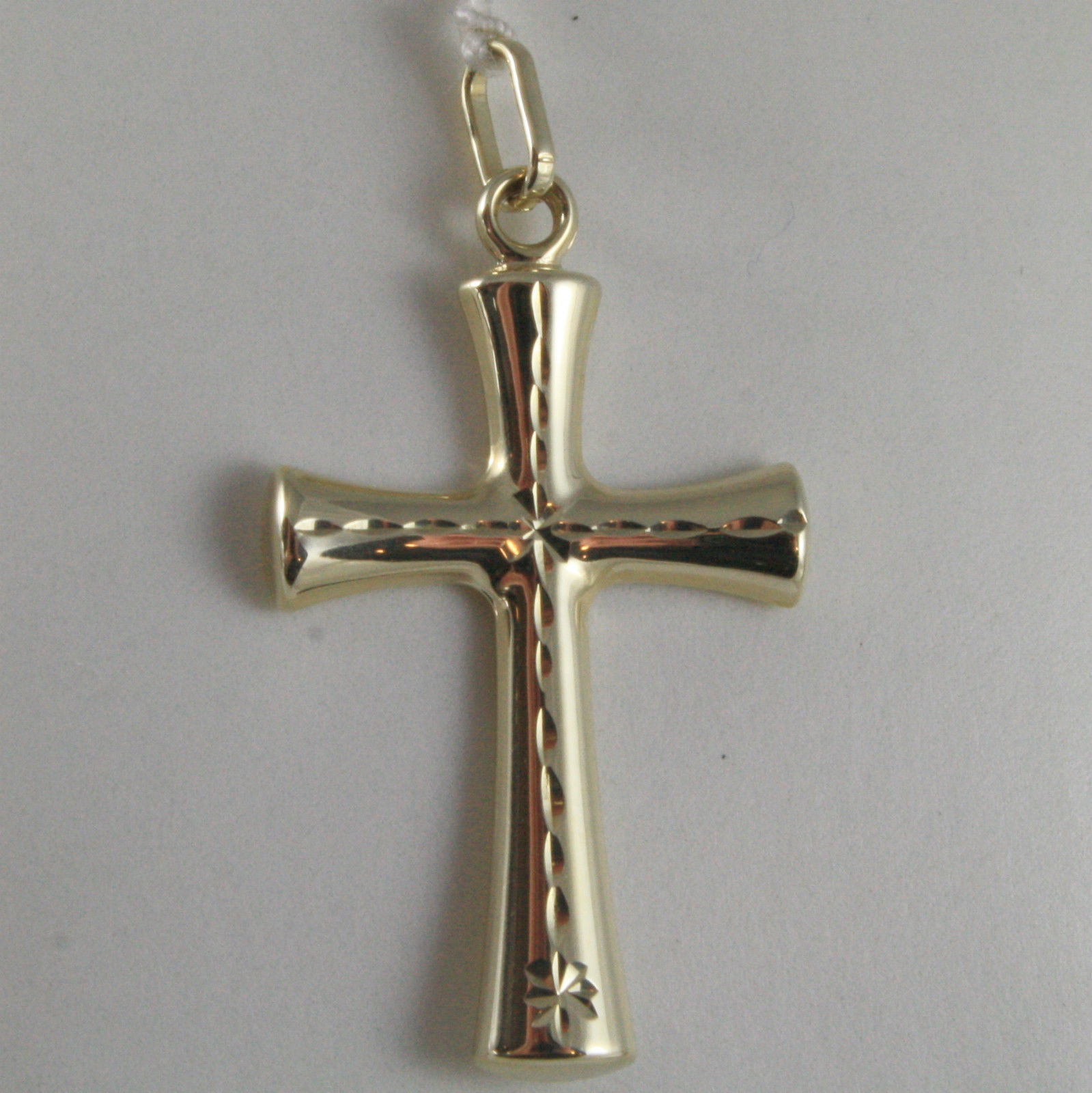 SOLID 9K YELLOW GOLD CROSS, STYLIZED, FINELY WORKED, MADE IN ITALY, 9KT