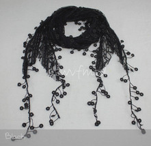 "68"" Lace Scarf Long Coins Fringe Embroidery Floral Black White Ivory Steel Blue - $9.80"