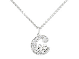 Necklace Cacharel Pendent with moon and birds (CSC112Z38), Sterling Silv... - $66.33
