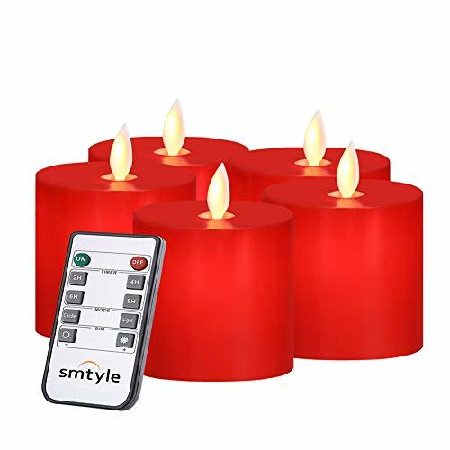 Primary image for smtyle Red Candles Flickering with Remote for Christmas Room Decor Realistic Fla