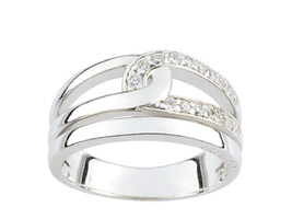 Ring Cacharel simple and interlaced with stones (CSR119Z), Sterling Silv... - £36.15 GBP