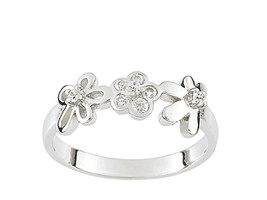 Ring Cacharel with three flowers and stones (CSR082Z), Sterling Silver 0... - £34.03 GBP