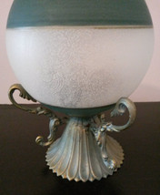 GLASS CANDLE HOLDER Frosted Sphere Green with Brass Metal Base image 5
