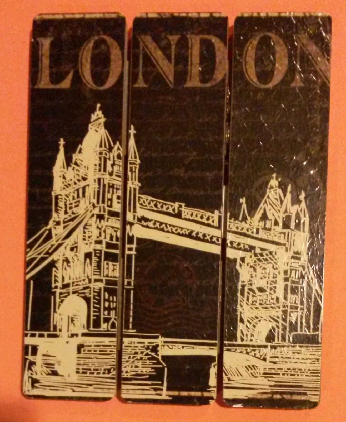 London Rome Wooden Plaque 2-pc Set 9x7 Sign Wood Wall Art NEW