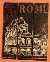 London Rome Wooden Plaque 2-pc Set 9x7 Sign Wood Wall Art NEW image 3