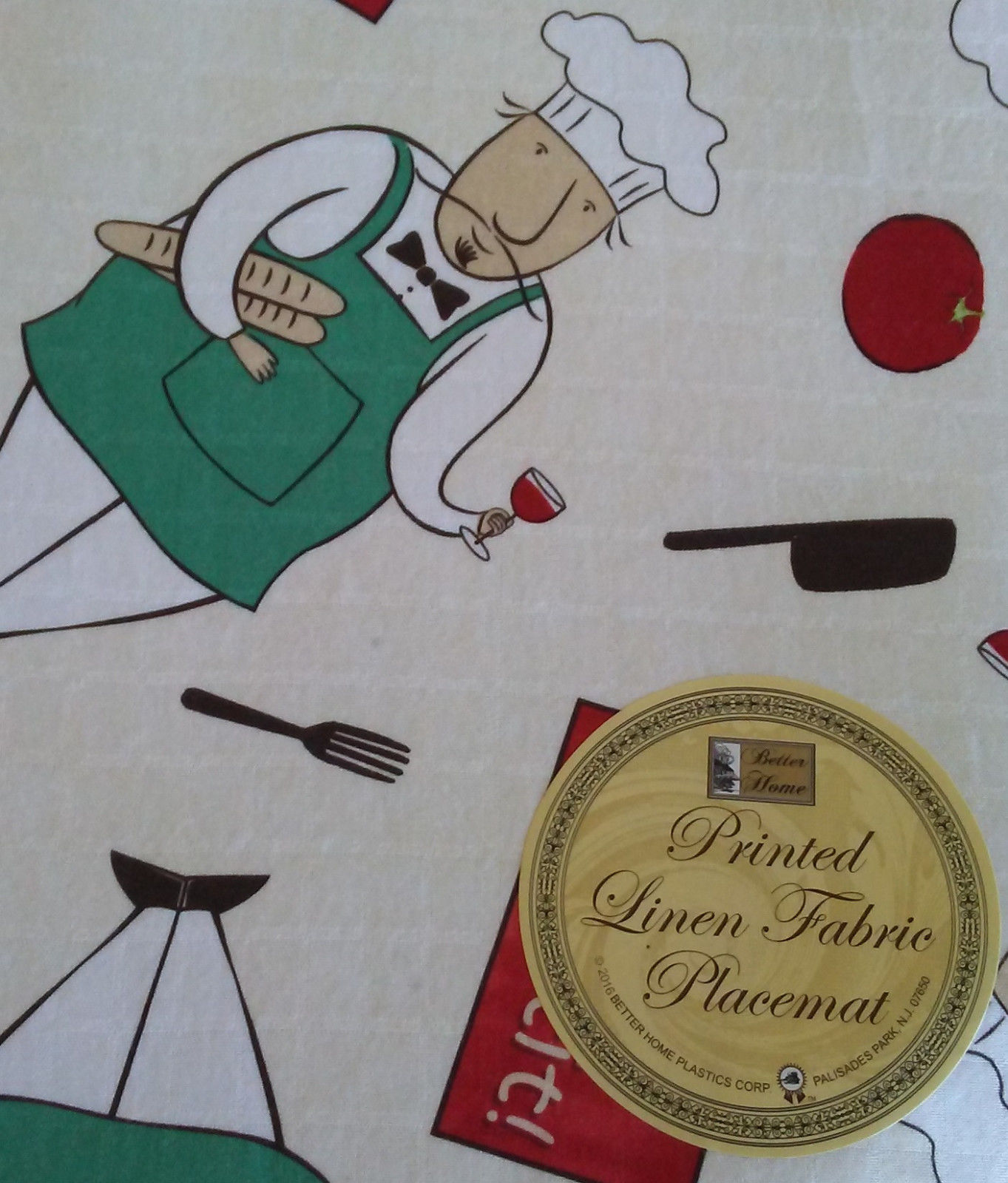 FAT CHEF FABRIC PLACEMATS Set of 4 Linen 12x18 Bon Appetit Wine Cook NEW