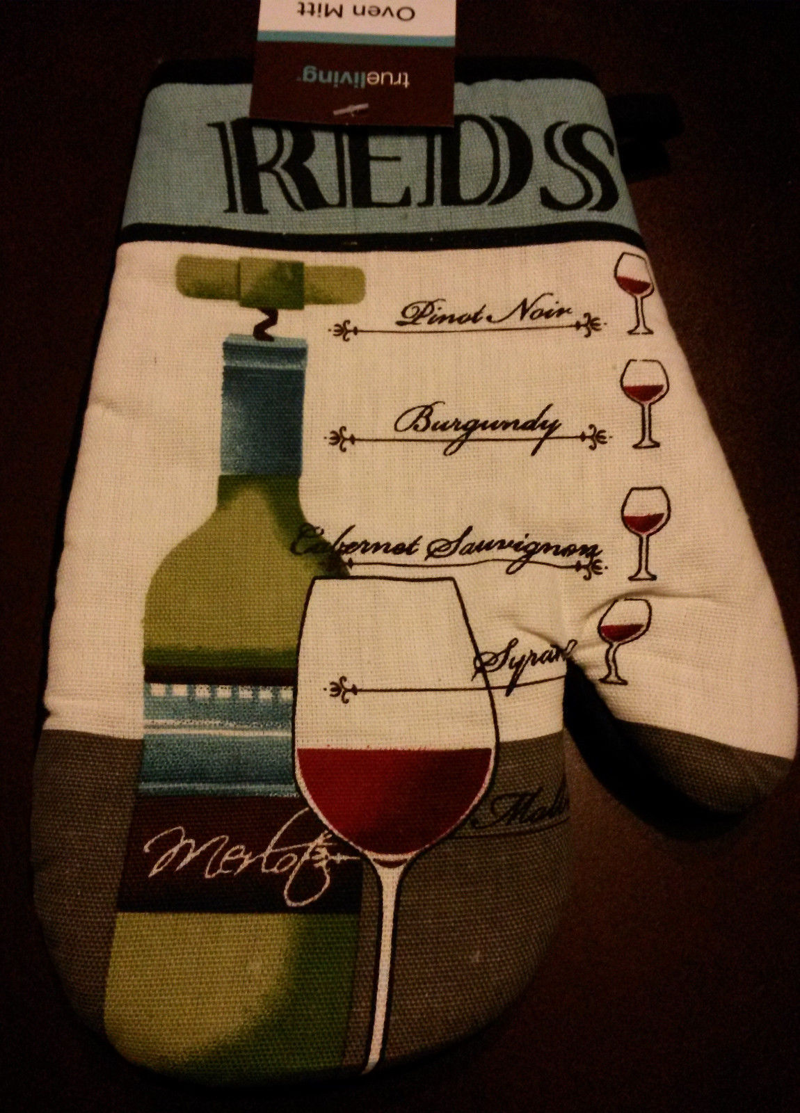 Wine themed Kitchen Set 2-pc Towel Oven Mitt Red Wines Cabernet Merlot NEW