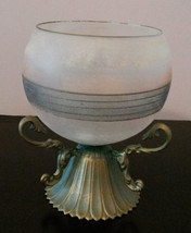 GLASS CANDLE HOLDER Frosted Decorative Sphere with Brass Metal Stand image 4