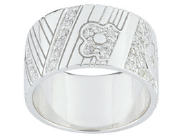 Ring Cacharel with flower, rectangles and stones (CSR214Z) Sterling Silv... - £50.90 GBP