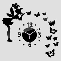 Wall Sticker Mirror Acrylic Clock Modern Butterfly Fairy Home Decor Watch - $6.76