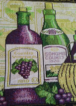 WINE TAPESTRY PLACEMATS Set of 4 Sonoma Vineyard Purple Green Fabric 13x19 NEW image 3