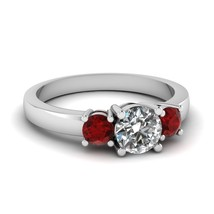 Round Shape 3-Stone White Cz Red Garnet Wedding Engagement Ring 14K White Fn - $75.99
