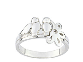 Ring simple simple with two birds and flower (CAR079), Sterling Silver 0... - £25.83 GBP