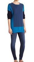 NWT Vince Wool And Cashmere Blend Colorblock Sweater Size L Teal-bay - $98.99