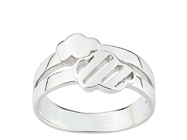 Ring simple simple with two clouds (CAR151), Sterling Silver 0,925 - £29.62 GBP