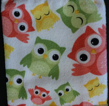 OWL KITCHEN TOWELS Set of 4 Microfiber Colorful Owls Green Bird NEW image 4
