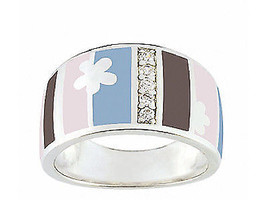Ring Cacharel with rectangles and stones (CLR101WZ), Sterling Silver 0,925 - £41.12 GBP
