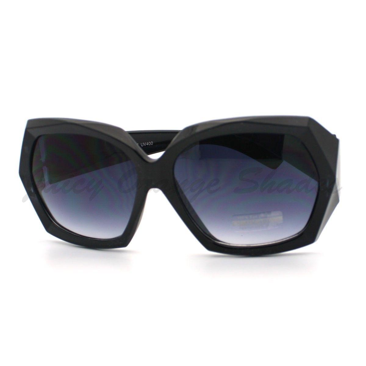 36644c924a3 Diamond Cut Design Womens Sunglasses Oversize Square Fashion Frame BLACK -  £6.11 GBP