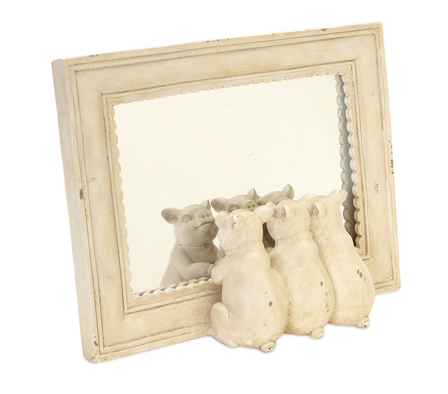 Scalloped Edge Mirror with Three Little Pigs