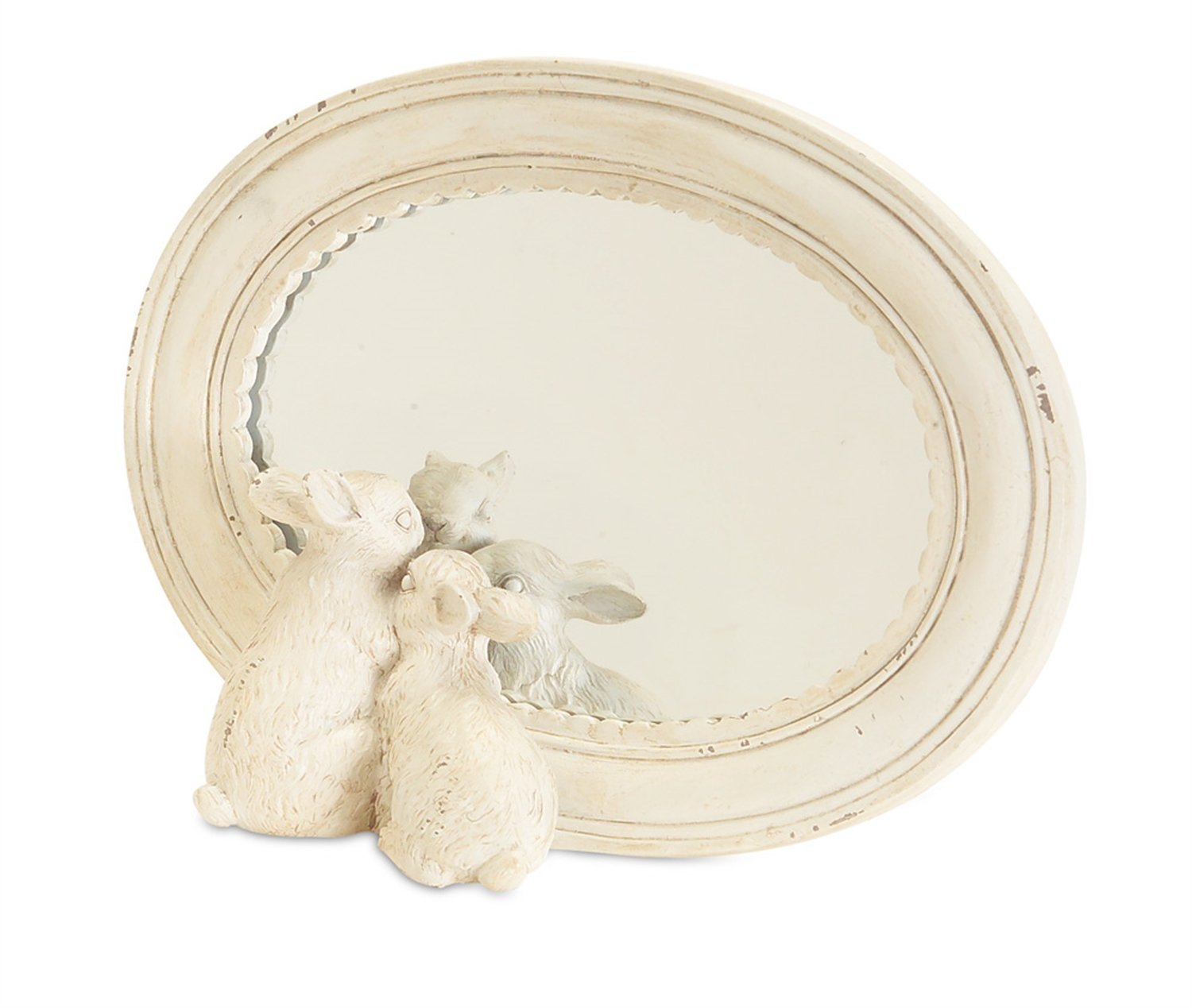 Scalloped Edge Mirror with Rabbits