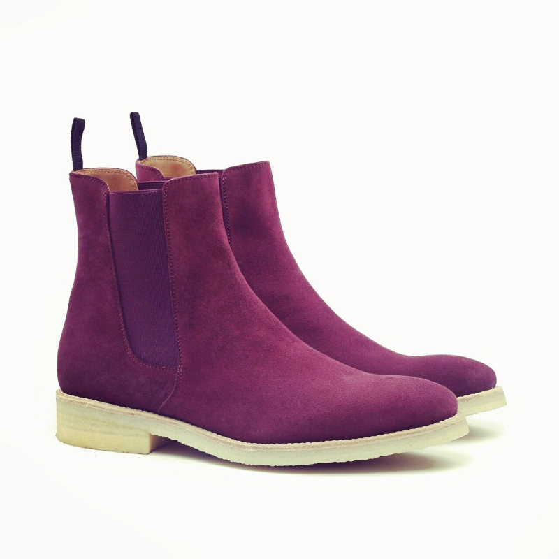 handmade purple suede leather boot mens chelsea suede