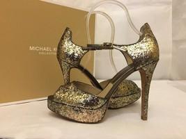Michael Kors Kylie Gold Glitter Metallic Women's Platform High Heels San... - $125.14