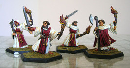 Group of four Cleric miniatures (metal, painted, hex bases) - $40.00