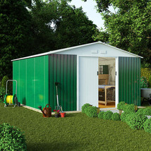 10 x 9 Boxer Apex Metal Steel Garden Shed Green High Roof Galvanised - $669.07
