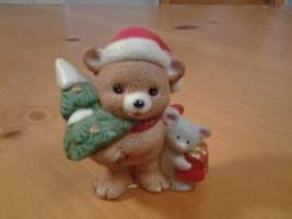 Christmas Bear with Tree Figurine, Homco #5104, 3.75 inches Porcelain, VG - $3.99