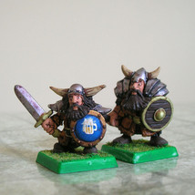 Pair of dwarf fighter miniatures (metal painted) - $25.00