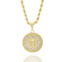 "Mens Medallion Patern Lion Gold Plated 24"" Rope Chain Pendant Necklace - $13.85"