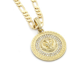 "Mens Medallion Patern Lion Gold Plated 24"" Figaro Chain Pendant Necklace - $13.85"