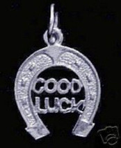 1327 Sterling Silver GOOD LUCK Horse Shoe Racing charm - $13.41