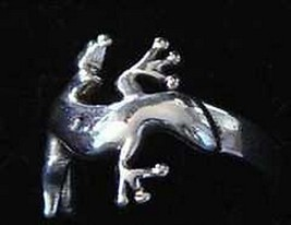 Celtic Lizard Gecko Ring Sterling Silver Away Disease - $22.97