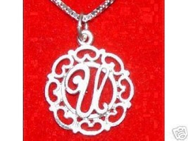 Sterling Silver Pendant Charm Initial Letter U jewelry - $13.41