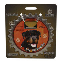 Rottweiler dog coaster magnet bottle opener Bottle Ninjas magnetic - $9.95