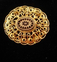 Victorian Style Brooch Vintage etched Cabochon Women's black gold jewelry - $65.00