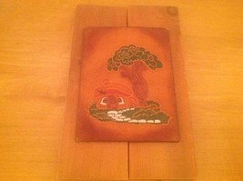 VINTAGE LEATHER & WOOD MUSHROOM HOUSE WALL ART HANGING 1970'S MID CENTURY - $19.34