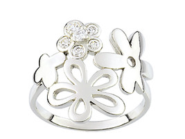 Ring Cacharel simple with four flowers and stones(CSR077Z) Sterling Silv... - £37.22 GBP