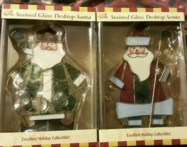 NEW stained glass Santa Claus GOLFER DESK TOP BY GOLF GIFTS AND GALARY C... - $28.71+