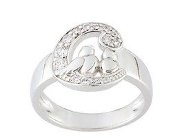 Ring simple with birds and symbol of Cacharel (CSR112Z), Sterling Silver... - £29.77 GBP