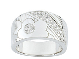Ring Cacharel simple with flowers and stripes (CSR212Z), Sterling Silver... - £50.90 GBP